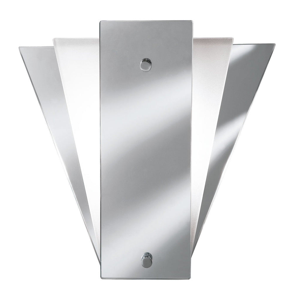 WALL MIRROR LIGHT - DECO FAN STYLE FROSTED
