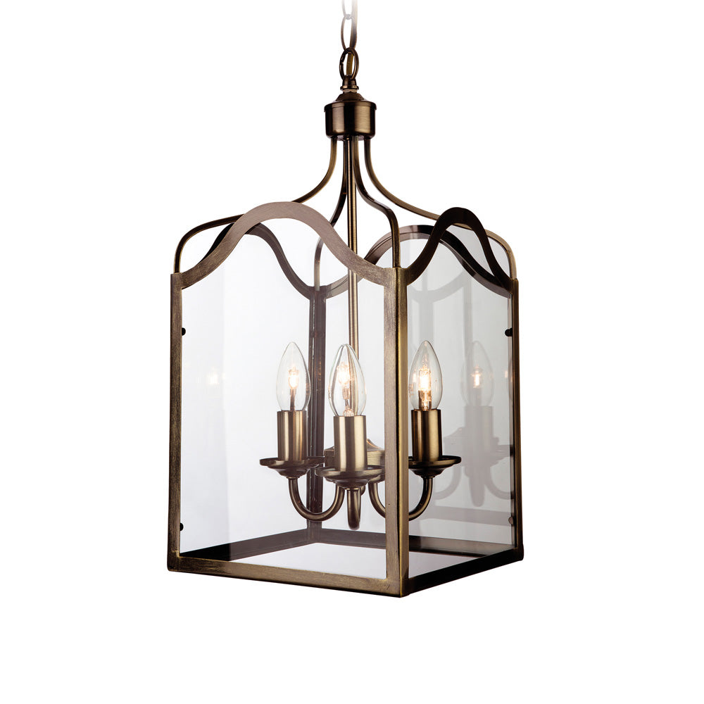 8638AB Monarch Antique Brass Lantern 3 Light