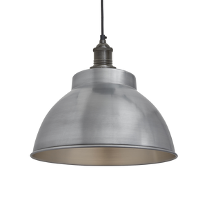 Industville Brooklyn Vintage Metal Dome Pendant Light - Light Pewter - 13 inch