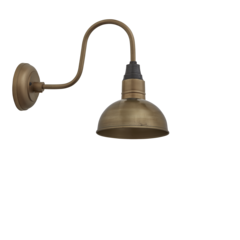 Industville Brooklyn Vintage Swan Neck Wall Sconce - Dome - Antique Brass - 8 inch