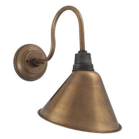 Industville Vintage Cone Shaped Barn Swan Neck Retro Wall Sconce Lamp - Brass