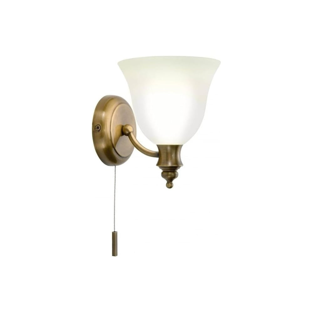 Oboe 1 Light Bathroom Switched Wall Light IP44 Antique Brass