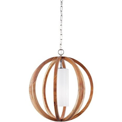Allier 1lt Small Pendant Light Wood/Brushed Steel