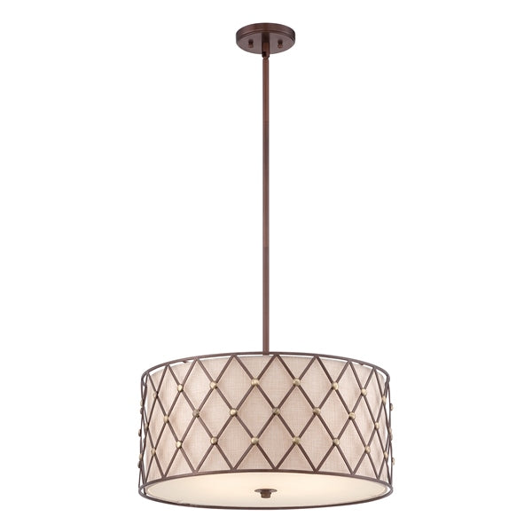 Brown Lattice Large Pendant QZ/BROWNLATT/P/L