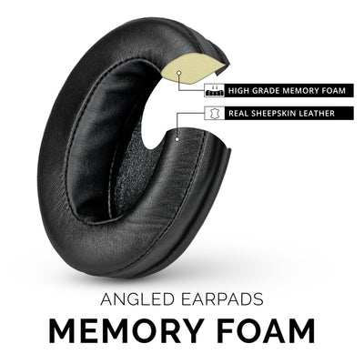 Headphone Memory Foam Earpads  - Oval - Sheepskin Leather - Angled
