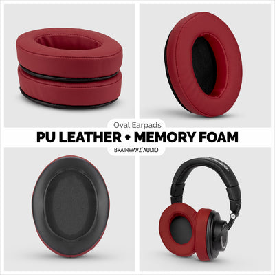 Headphone Memory Foam Earpads - Oval - PU Leather (Various Colours)