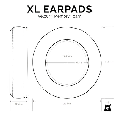 Headphone Memory Foam Earpads - XL Size - Velour