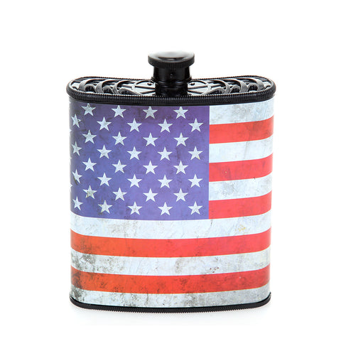 Red, White and Blue Patriotic USA Hip Plastic Flask 7 oz - American Flag