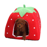 Strawberry Color Soft Pet Cat & Dog Winter Warm House bed Fold able