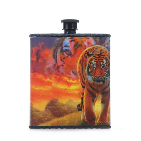 Pack of 2 Burning Bright Tiger Hip Plastic Flask 7 oz, Tigerfn Shop