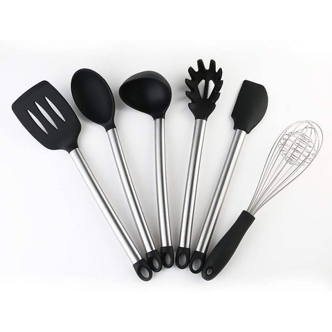 6 Piece Silicone Stainless Steel Utensil Cookware Set Non-stick