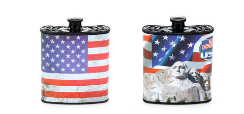 Red, White and Blue Patriotic USA Hip Plastic Flask 7 oz - Mount Rushmore & American Flag