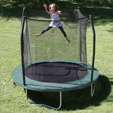 "Trampoline With Enclosure For Kids And Adults Green Color  Size 8"" Round Shape, Tigerfn Shop"