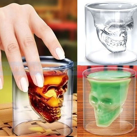Crystal Glass Skull Doomed Shot Glass Double Walled Cup