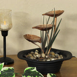 Unique home office table Piece 3  metal leaf cascading tabletop fountain
