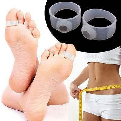 2 pairs Set Japanese  Silicone Magnetic Slimming Toe Rings