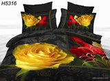 Western Style 4 Piece Reactive Print  3d Bed Covers HD & Creative Flower Print