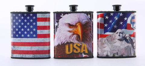 Red, White and Blue Patriotic USA Hip Plastic Flask 7 oz (limited edition 2016 Freedom flask set)