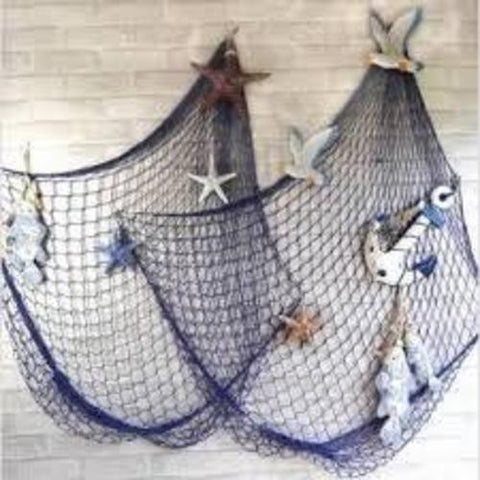 Mediterranean Sea Fish net Home wall Decor  Art with Sea Shells Blue & White Color,Tigerfn Shop