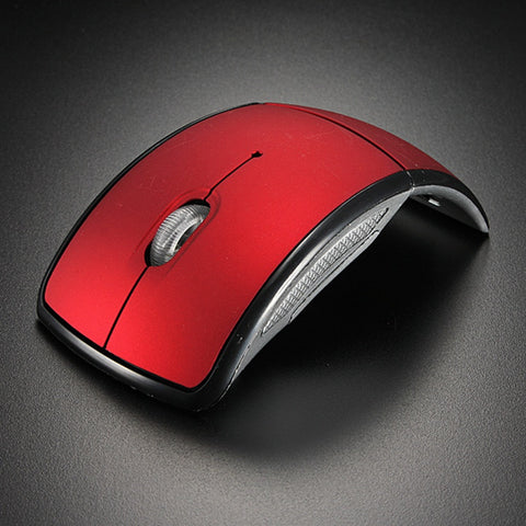 Red Optical 10m Mini 2.4GHz  Wireless Mouse Gaming Mice Arc Folding Mouse