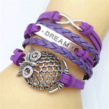 Vintage Retro Owl Wings Note Infinity Bracelet, Multicolor Woven Leather Bracelet