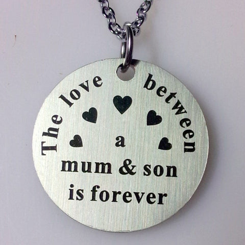Stainless Steel jewelry mum and son family pendant necklace