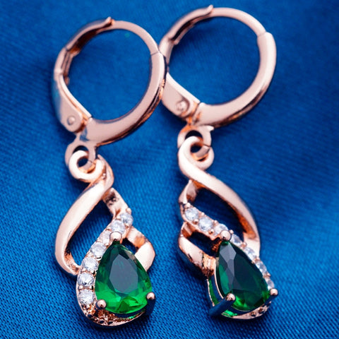 synthetic emerald zircon earrings for girls small drop earrings