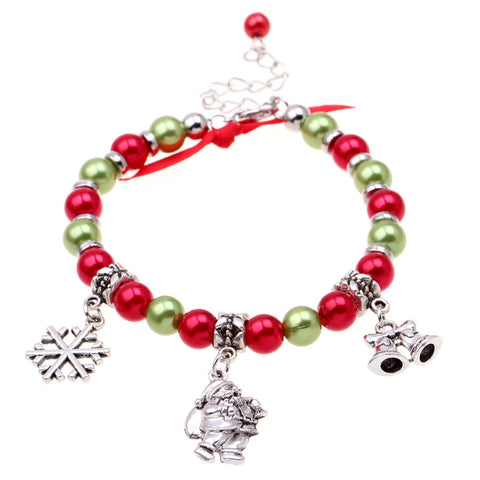 New fashion christmas gift charm for women silver santa claus bracelet