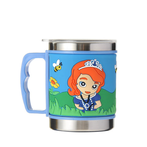 Princes Girls New Arrival Stainless Steel Coffee Mugs Cups 3D Embossed  Water Cups With Lid