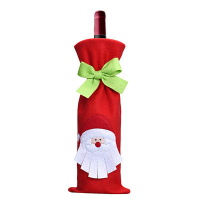 1 pcs Christmas  Bottle Bag  Dinner Party Decoration Bow-Knot Red Deer