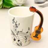 Novelty Guitar Ceramic Cup Personality Music Note Mug Coffee Tea Cup  Drinkware Unique Gift