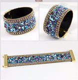 Woman Bangle Bracelet,Magnetic clasp High-grade Leather Crystal Stones Accessories