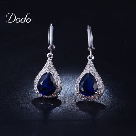 Sapphire jewelry earrings for women crystal vintage retro silver plated