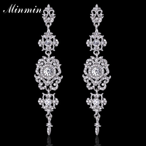 Minmin Floral Shape Silver Crystal Long Earrings