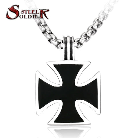 Steel soldier stainless steel iron cross pendant for men