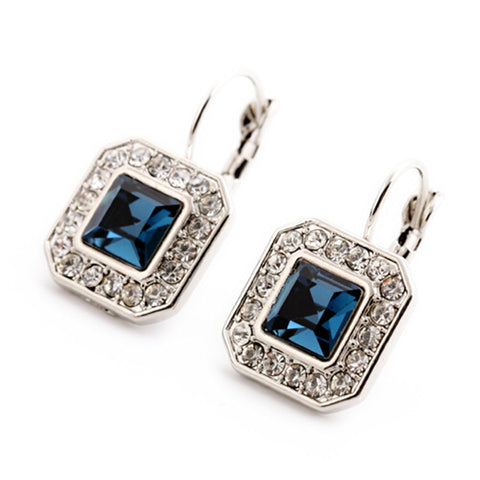 New Blue Geometric Rhinestone Crystal Drop Earrings For Women Trendy Jewelry Elegant Earrings