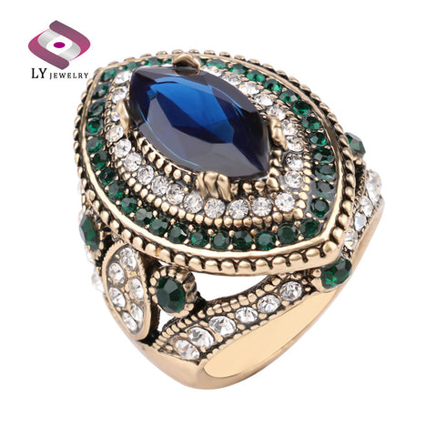 Sapphire Jewelry Vintage Wedding Rings For Women Plating Gold Mosaic Green Crystal