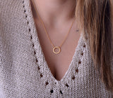 Stainless steel Fashion Clavicle Chains choker Karma Circle Statement Rose Gold Necklace