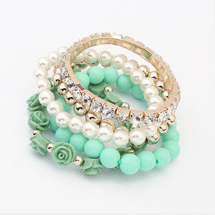 Star Jewelry 6 Colors  2014 New Fashion Crystal With Beads Flower Charm Bracelets