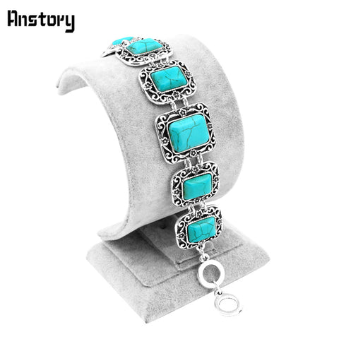 Vintage Look Tibetan Alloy Antique Silver Plated Flower Oblong Turquoise Bracelet