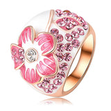 Pink Enamel Flower Rings Fashion 18K Rose Gold Plated Ring