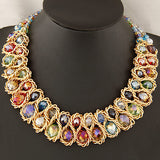 Women Hand-woven Big chunky Gold Chain Crystal Bead  Choker Necklace