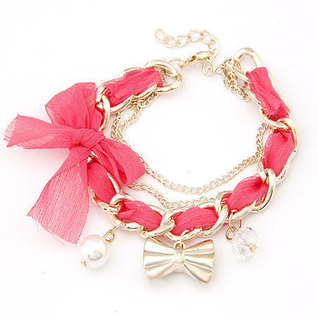 Women Fashion Gold Bow Charm Simulated Pearl Bracelet