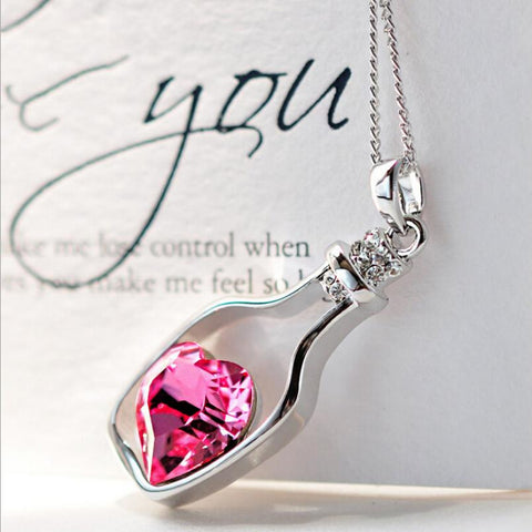 Silver  Crystal Necklace Love Drift Bottles Heart Charm Jewelry