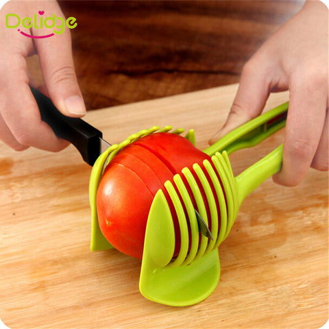 1pc Tomato Slicer Fruits Cutter Stand  Slicer Random Color