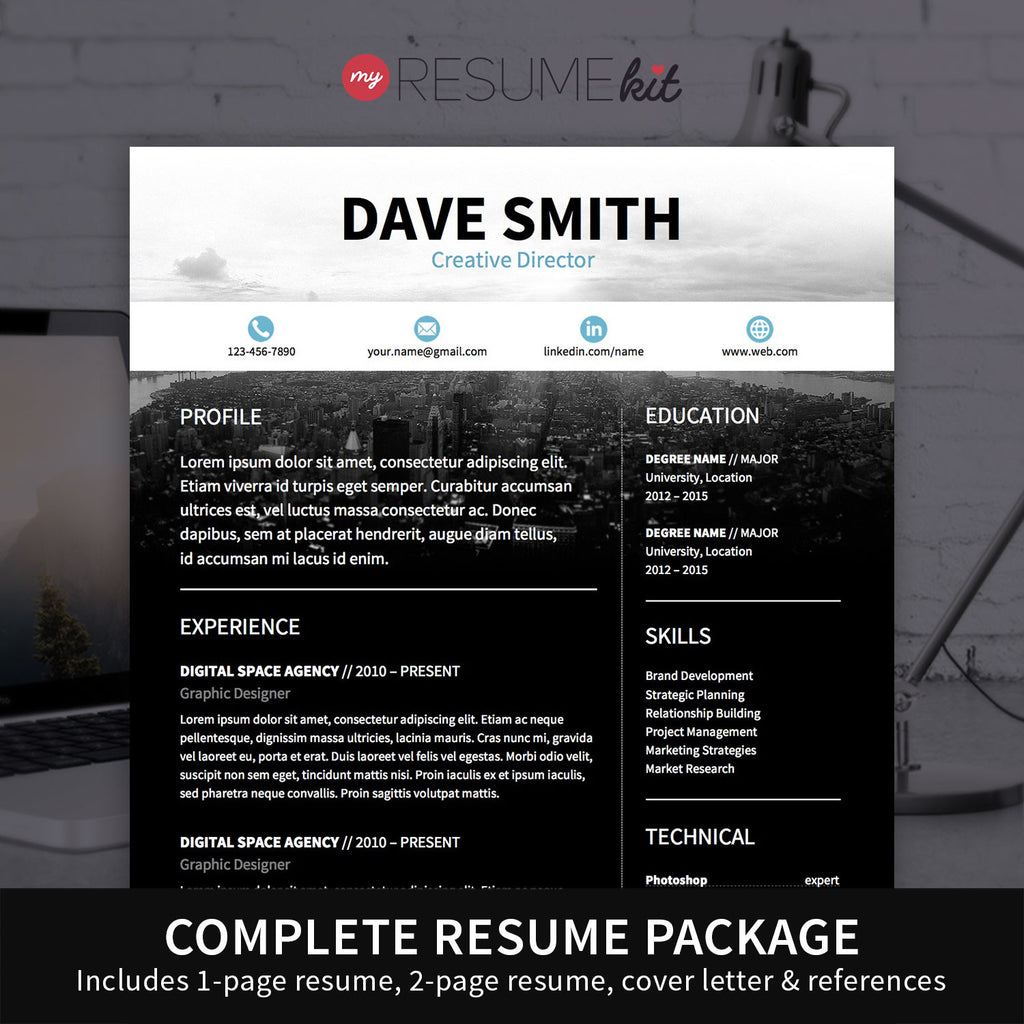 resume template for word theme david modern resume with blue