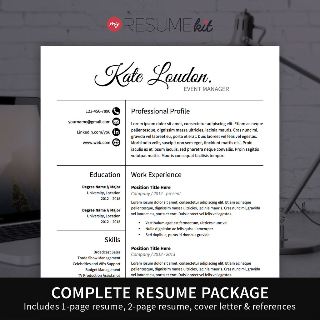 resume template for word theme kate elegant look in white - 1 Page Resume Template Word