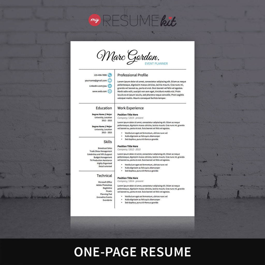resume template for word theme marc elegant look in white - One Page Resume Template Word