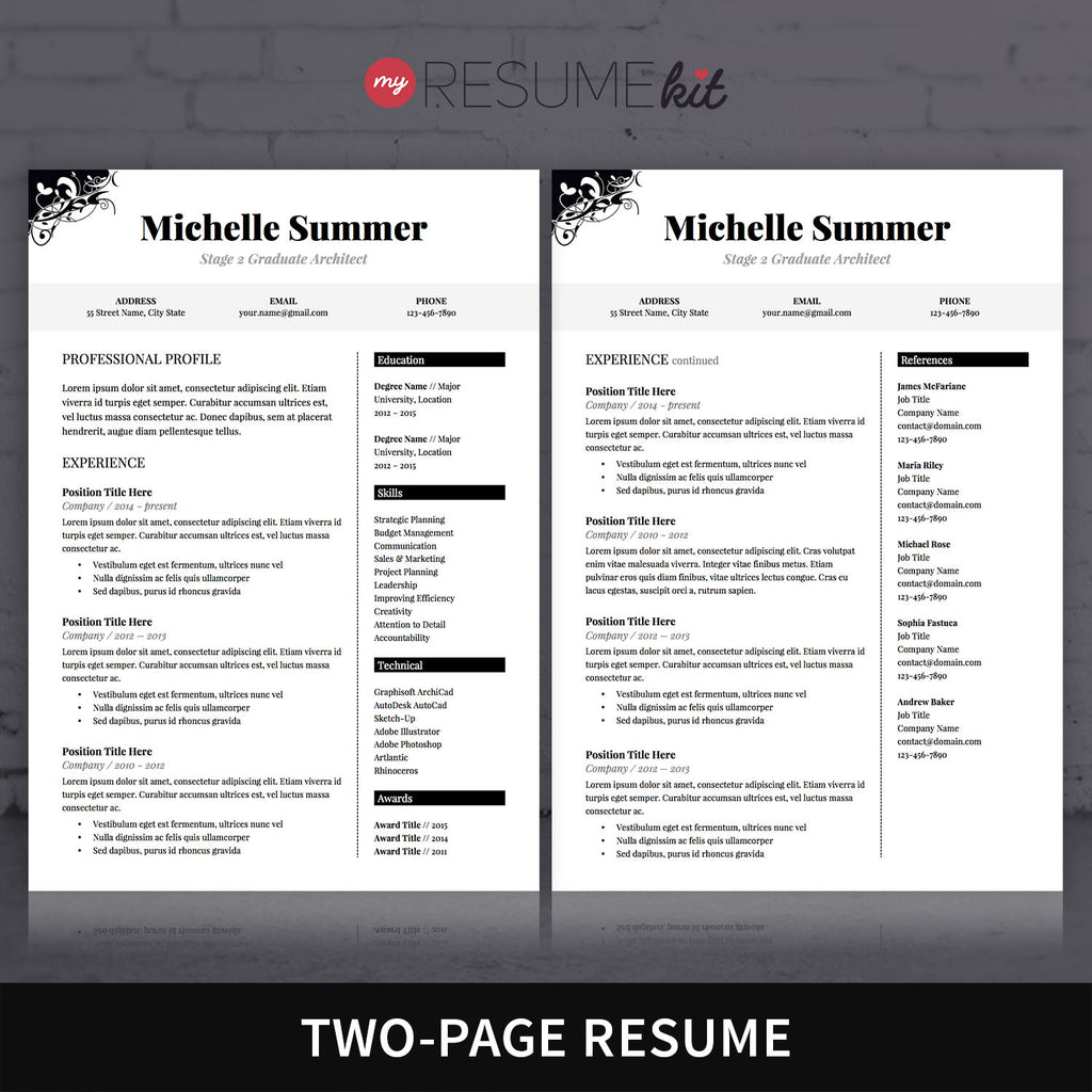 two page resume template the best cv resume templates 50 examples - Examples Of 2 Page Resumes