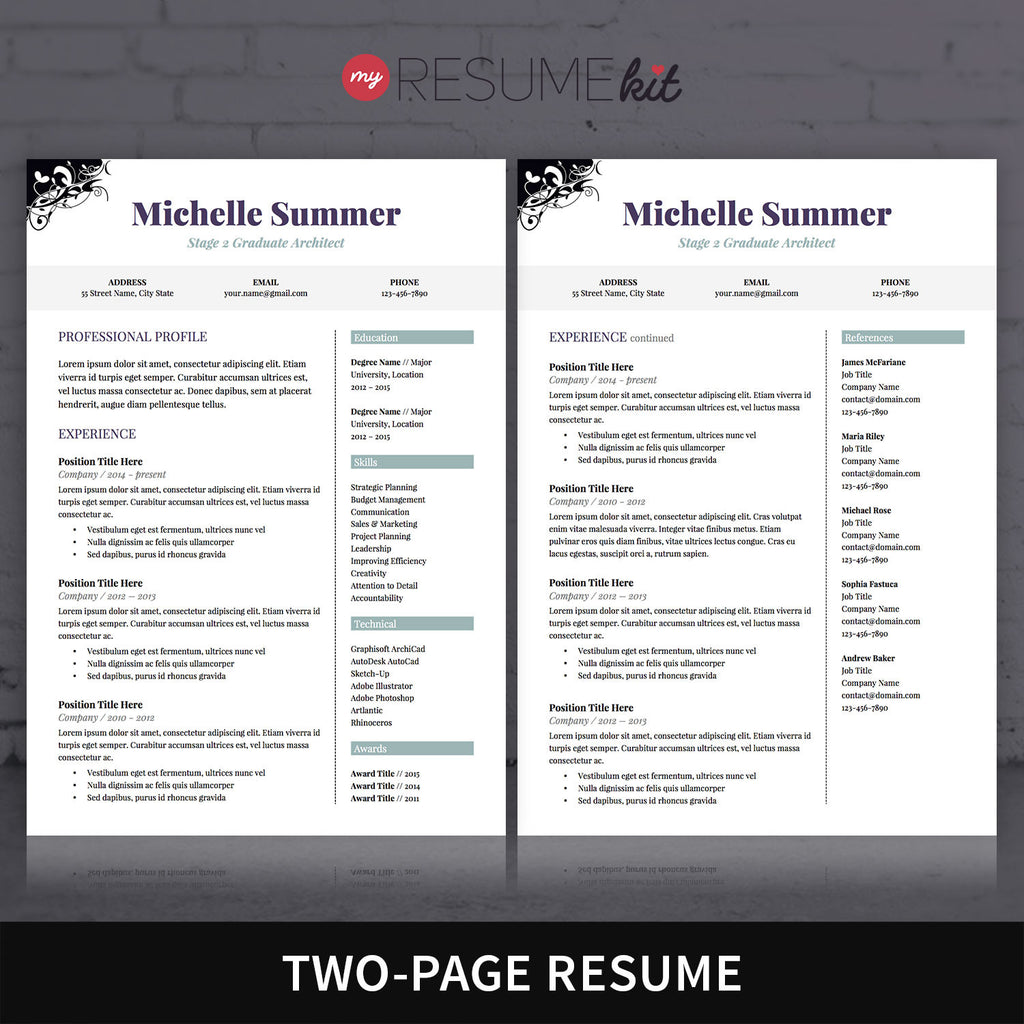 resume template for word theme michelle classic look in resume template for word theme michelle classic look in purple